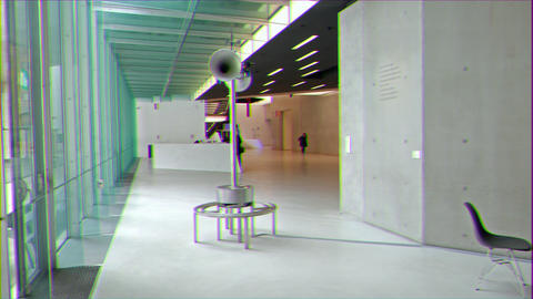 Glitch effect. Hall National Museum of the XXI century (MAXXI). Rome, Italy Footage