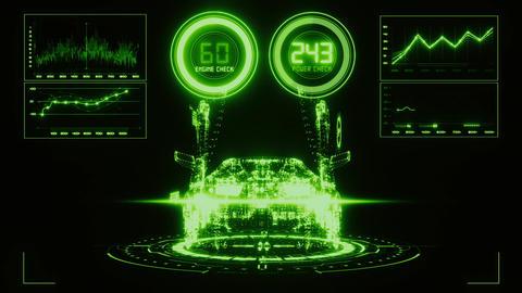 3D Green HUD Auto Car Interface Motion Graphic Element Animación