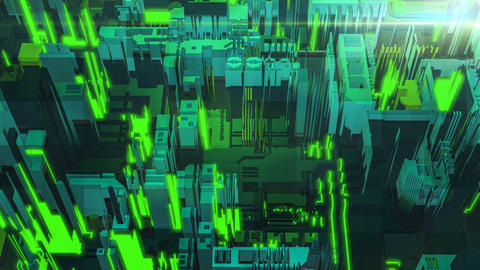 Abstract digital green building fragment Animation