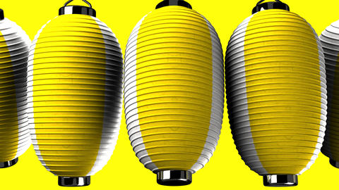 Yellow and white paper lanterns on yellow background CG動画