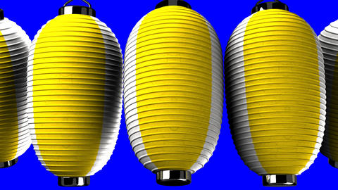 Yellow and white paper lanterns on blue chroma key CG動画