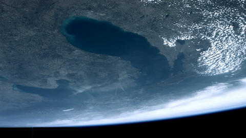 Earth seen from space. Chicago, Green Bay Lake, Lake Huron, Michigan Live Action