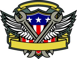 Crossed Wrench Army Wings American Flag Shield ベクター