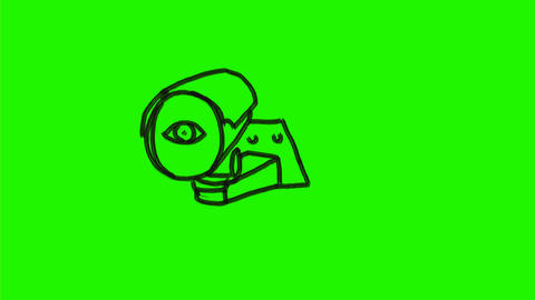 CCTV Surveillance Camera Eye Watching Drawing 2D Animation Animation