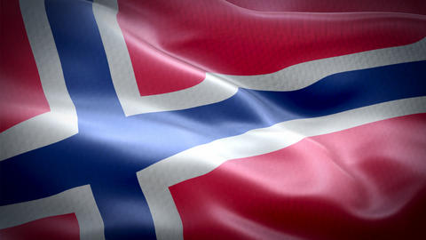 Realistic flag of Norway waving with highly detailed fabric texture Archivo
