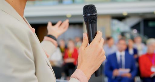 Female speaker speaking in the business seminar 4k Live Action