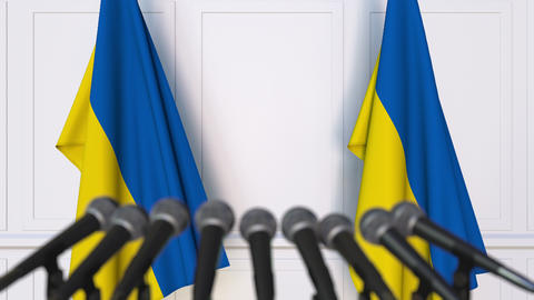 Ukrainian official press conference with flags of Ukraine. 3D animation Footage