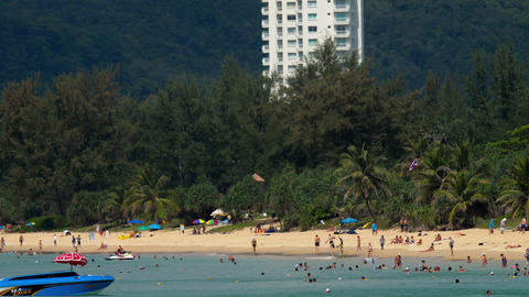 High season in Karon beach in Phuket Footage