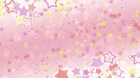 ポップな星エフェクトとキラキラエフェクトのフレーム-ピンク/白背景 CG動画
