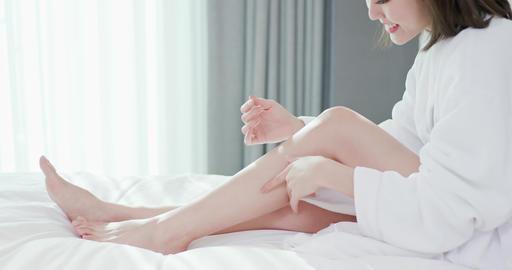 woman leg skin care concept Footage