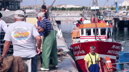 Boat being unloaded by fishermen in harbor Footage