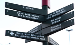 Brussels indication of direction sign, Atomium Footage