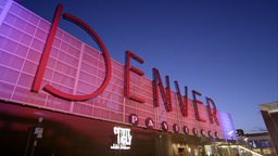 Static view of the Denver Pavilions building as the sign changes colors Footage