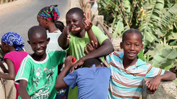 children happy posing for the camera in Cape Verde, Africa Footage