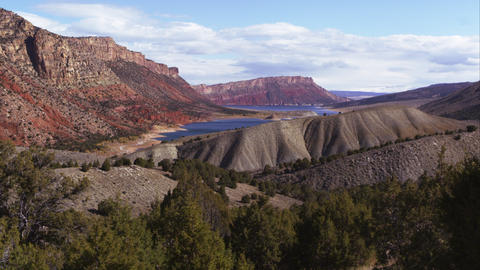 Panning view of the landscape looking toward Flaming Gorge in Utah Footage