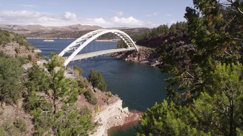 Static view of Cart Creek Bridge at Flaming Gorge in Utah Footage