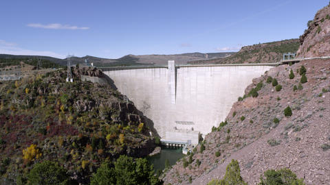 Panning view of the Flaming Gorge Dam from right to left Footage