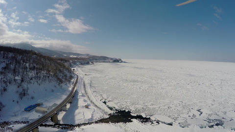 Aerial shoot of Shiretoko floating ice Footage