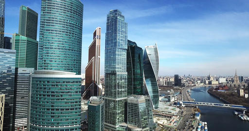 Moscow City aerial shooting cityscapes Footage