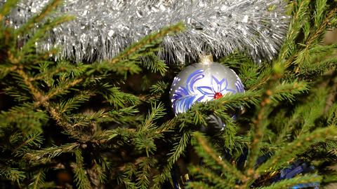 An ornated christmas tree with decorations Footage