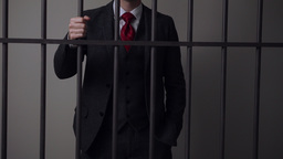 View of white collar criminal in prison Footage