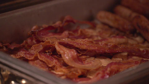 Hot bacon at a conference Footage
