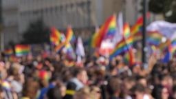 Blur crowd background Rainbow Flags LGBTQ Gay pride parade, celebration Footage