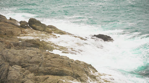 sea waves on the rocky shore. sea breeze, surf Footage
