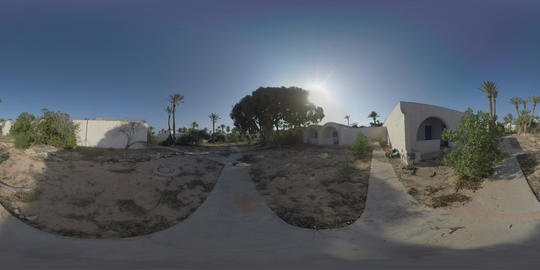360 VR Abandoned resort with unkempt area and empty guest houses Live Action