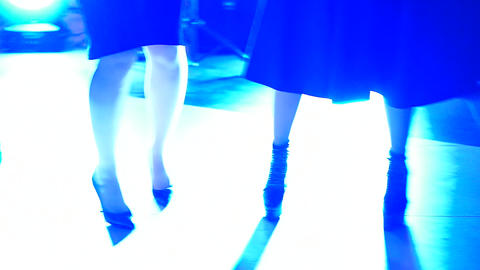 Close-up of feet dancing people on the dance floor Archivo