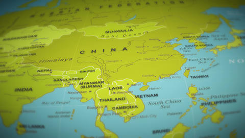 World Map Flight Over Background Animation