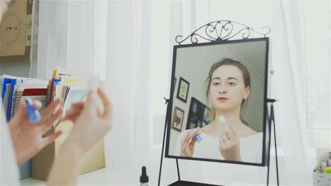Lips Care. Woman Applying Protection Lip Balsam Closeup Footage