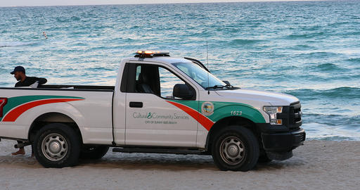 Ford F-150 Pickup Community Service Patrolling On The Beach Of Miami Footage