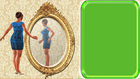 03 animated cartoon woman looking in mirror, green screen background Animation