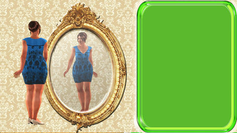 03 animated cartoon woman looking in mirror, green screen... Stock Video Footage