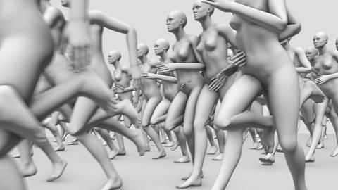 Many Nude Manikins Running GIF