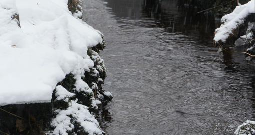Winter stream flows Footage