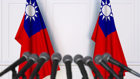 Taiwanese official press conference with flags of Taiwan. 3D animation Footage