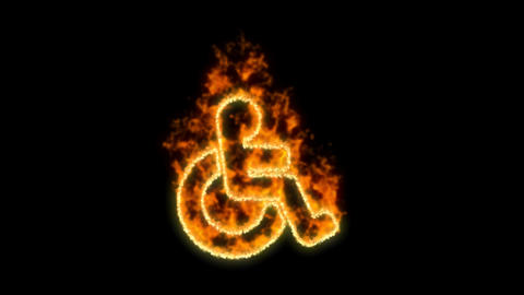 wheelchair symbol inflames. Then disappears. In - Out loop. Alpha channel Premultiplied - Matted Animation