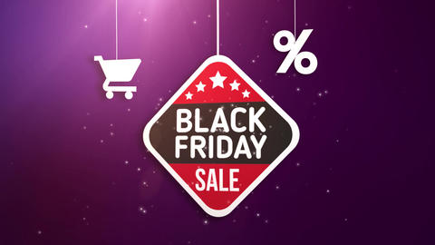 black friday sign hanging on string with shopping cart and percent icon Animation