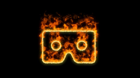 vr cardboard symbol inflames. Then disappears. In - Out loop. Alpha channel Premultiplied - Matted Animation