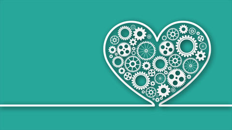 Heart with gears on green Archivo