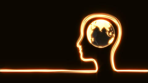 Man's head with globe Archivo