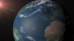 Asteroid crashes into earth near New York Animation