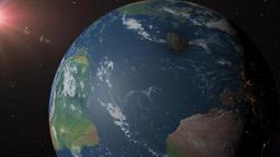 Asteroid crashes into earth near the Yucatan Peninsula Animation