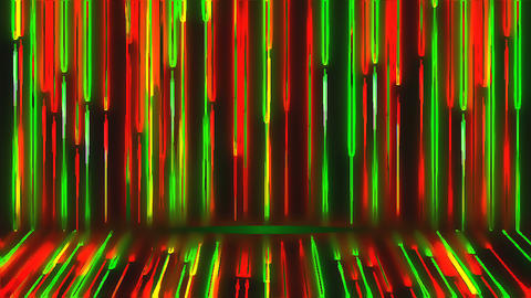 Bright colored neon beams are on wall and floor, modern neon technology, 3d Live Action