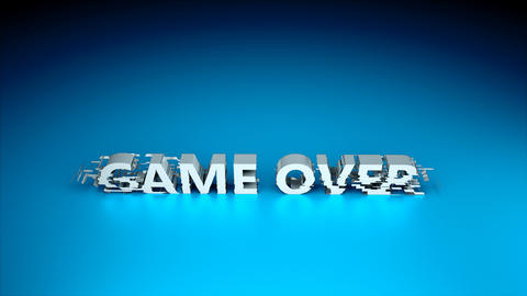 3d text - Game over with glitches effect are on surface, background for gaming Footage