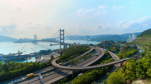Time lapse of Tsing Ma Bridge. Highways in Hong kong with... Stock Video Footage