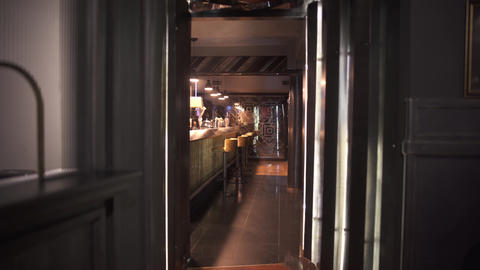 Beautiful and rich design of the bar in modern luxury restaurant. Comfortable Footage