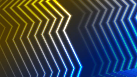 Blue yellow neon curved lines video animation Animación